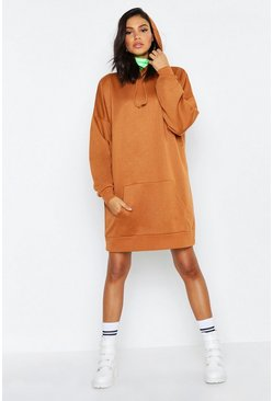 Womens Camel Tall Oversized Hooded Sweat Dress