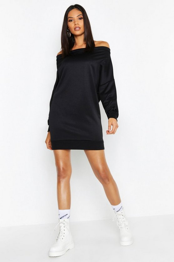Womens Black Tall Off The Shoulder Sweat Dress