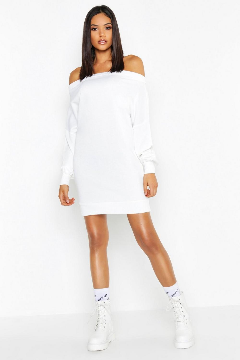 49172296f60 Tall Off The Shoulder Sweat Dress. Hover to zoom