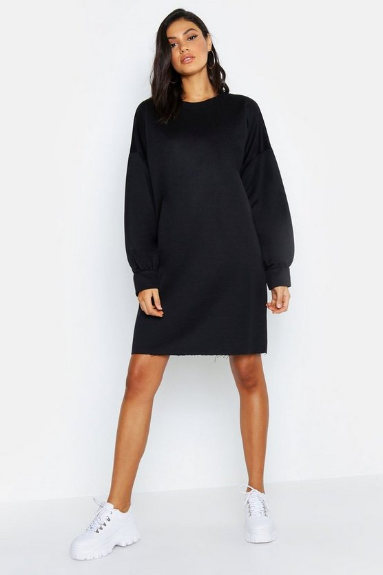 Womens Black Tall Oversized Sweat Dress