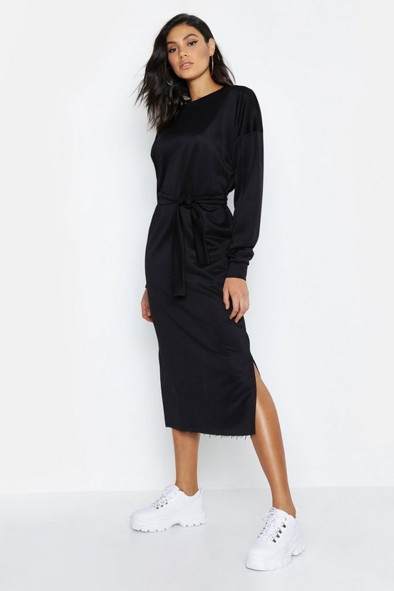 Black Tall Belted Midi Sweat Dress