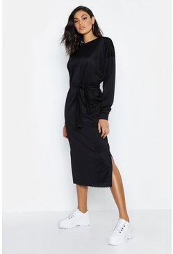Womens Black Tall Belted Midi Sweat Dress