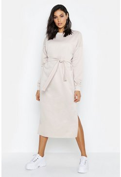 Ecru Tall Belted Midi Sweat Dress