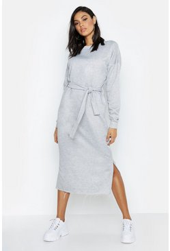 Womens Grey marl Tall Belted Midi Sweat Dress