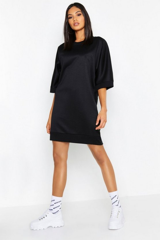 Womens Black Tall Oversized Loop Back Sweat Dress