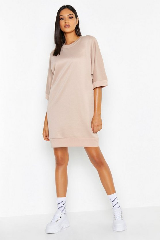 Womens Stone Tall Oversized Loop Back Sweat Dress