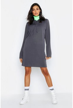 Womens Petrol Tall Hooded Rib Sweat Dress