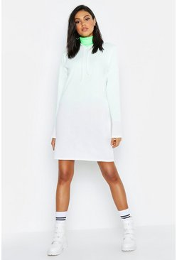 Womens White Tall Hooded Rib Sweat Dress