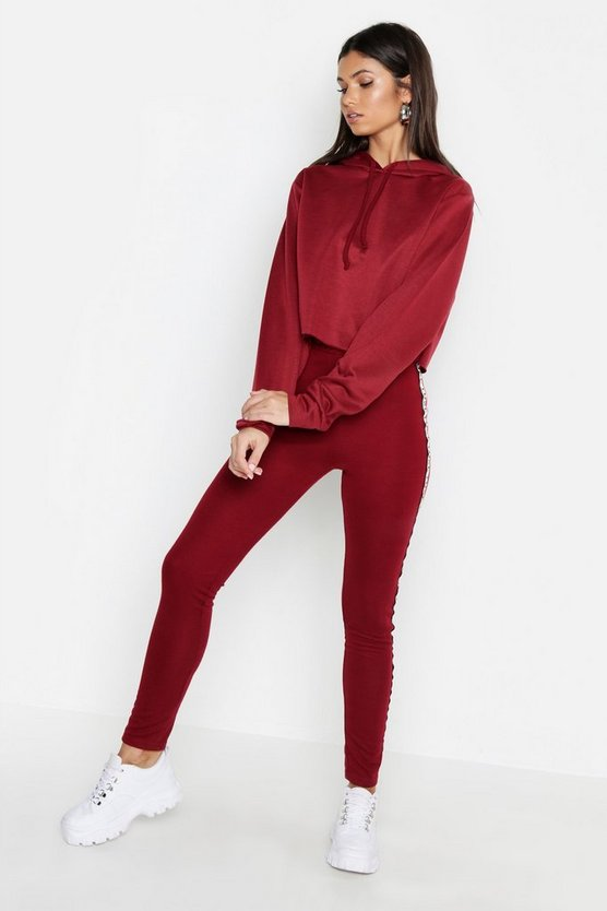 Burgundy Tall Cropped Hoody