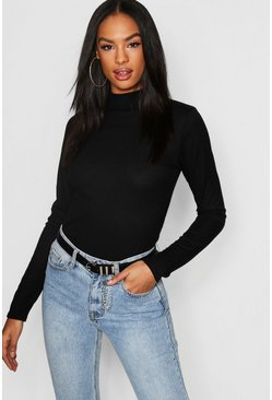 Womens Black Tall Rib High Neck Top