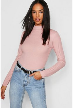 Dusky pink Tall Rib High Neck Top