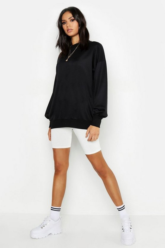 Womens Black Tall Oversized Balloon Sleeve Sweat Top