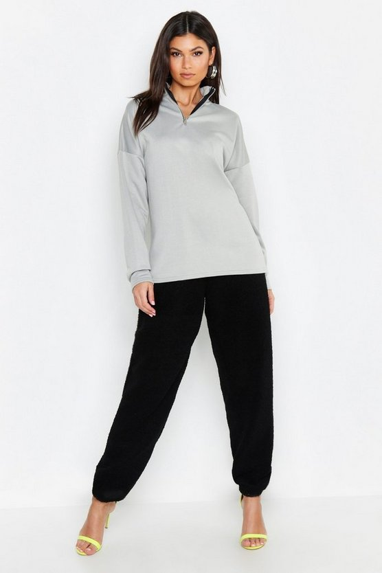 Tall High Neck Zip Front Sweat Top