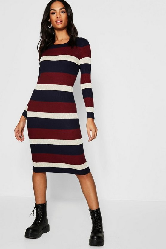 Womens Wine Tall Stipe Knitted Dress