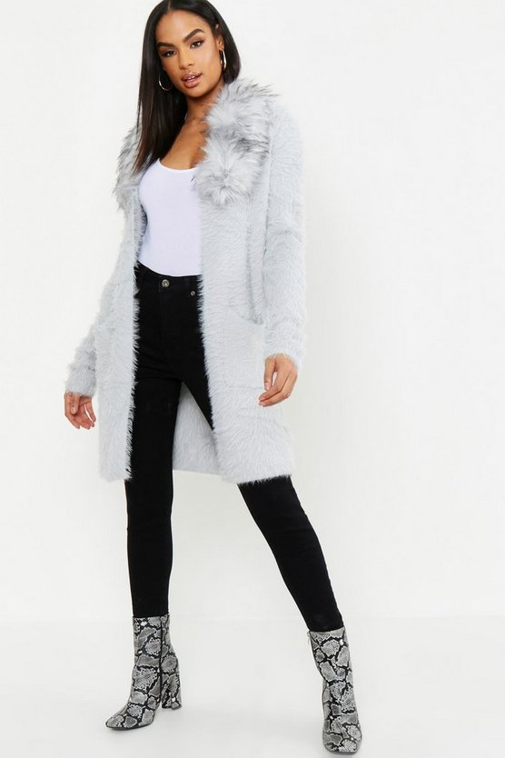 Tall Faux Fur Collar Soft Knit Cardigan