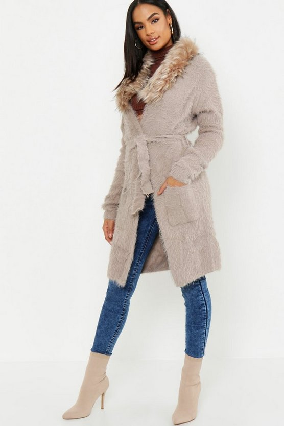 Tall Weicher Strick-Cardigan mit Fake-Fur-Kragen