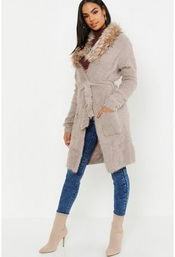 Womens Taupe Tall Faux Fur Collar Soft Knit Cardigan