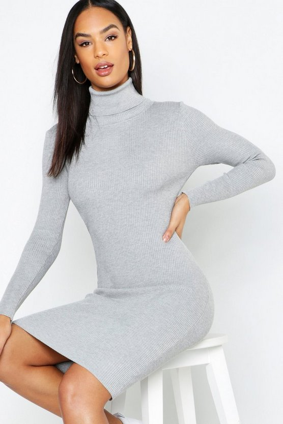 Tall Roll Neck Rib Knit Mini Dress