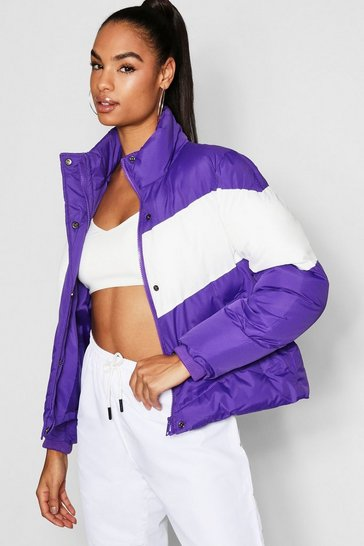 Womens Purple Tall Colour Block Jacket