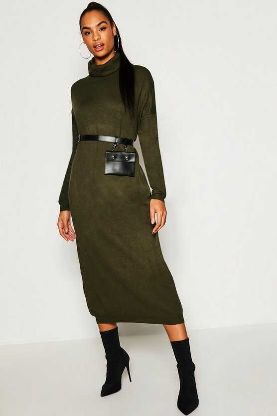 Womens Khaki Tall Roll Neck Knitted Dress