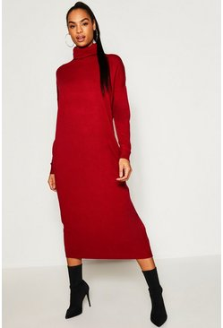 Womens Wine Tall Roll Neck Knitted Dress