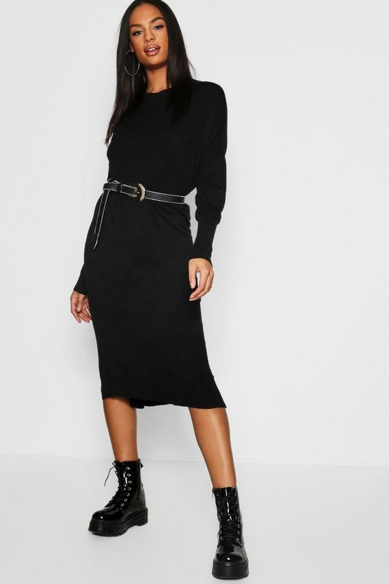 Womens Black Tall Crew Neck Knitted Dress