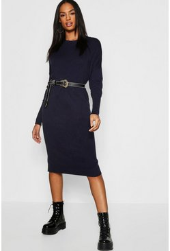 Womens Navy Tall Crew Neck Knitted Dress