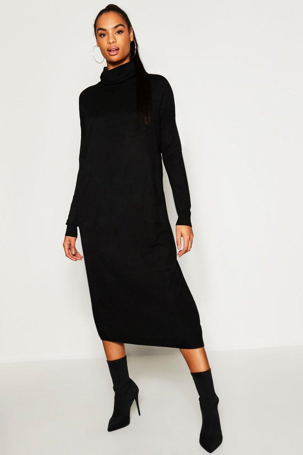 dfb16136cb83 Womens Black Tall Roll Neck Knitted Dress