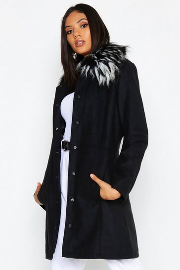 Womens Black Tall Detachable Faux Fur Collar Wool Look Coat
