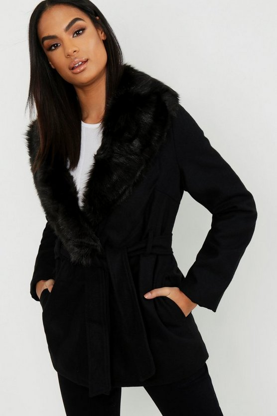 Tall Faux Fur Collar Wool Look Coat