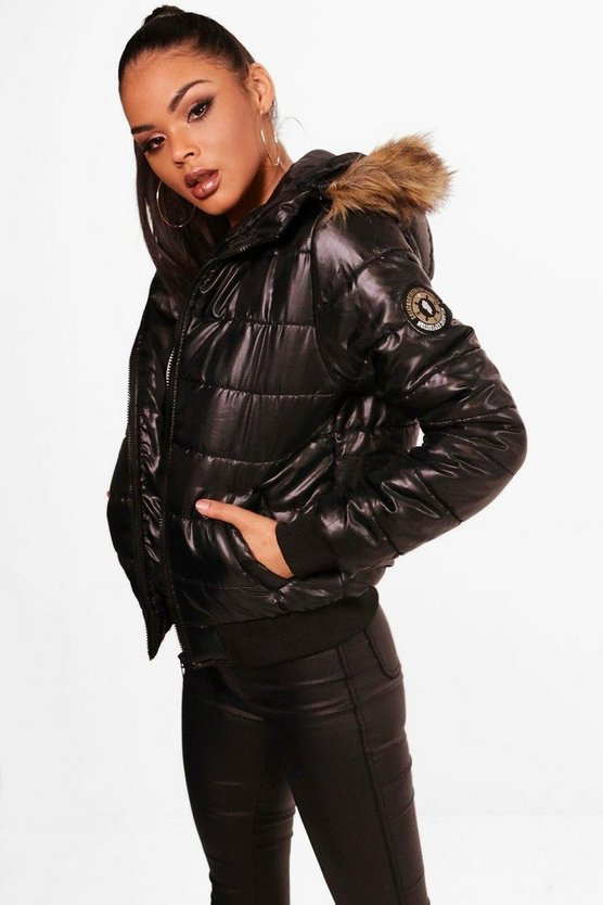 Womens Black Tall Crop Faux Fur Hooded Padded Jacket