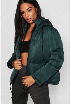Womens Teal Tall Hooded Crop Padded Jacket