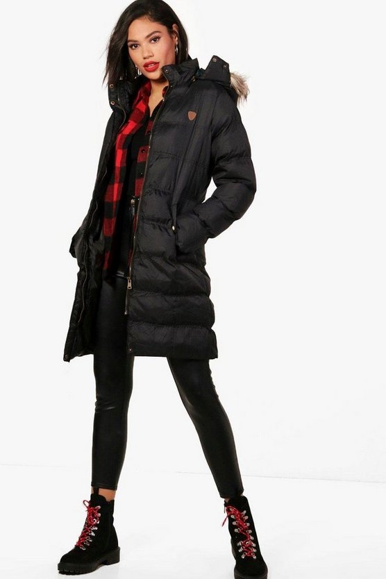 Tall Padded Longline Coat With Faux Fur Trim