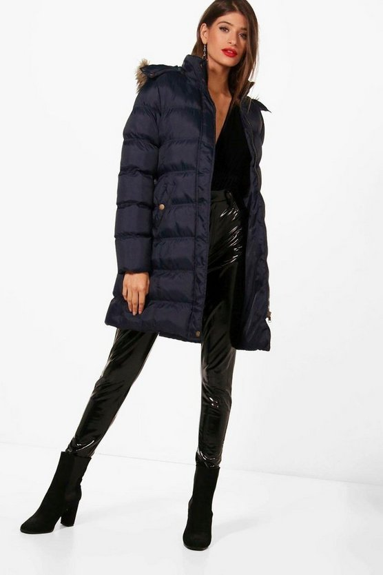 Navy Tall Padded Longline Coat With Faux Fur Trim