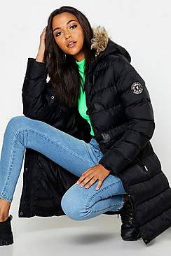 Tall Toggle Front Faaux Fur Trim Hooded Padded Coat