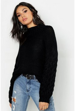 Womens Black Tall Oversized Bobble Sleeve Chunky Jumper
