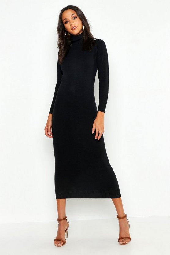 Womens Black Tall Soft Knit Roll Neck Sweater Dress