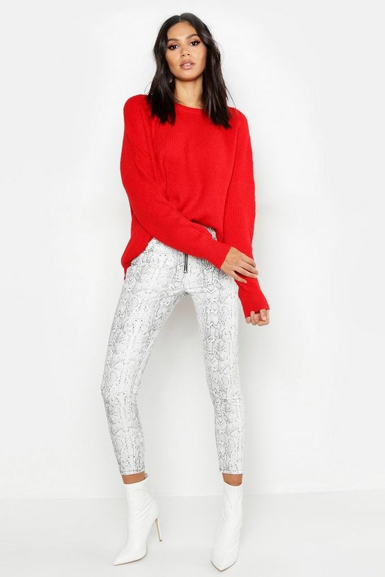 Red Tall Soft Knit Slouchy Jumper