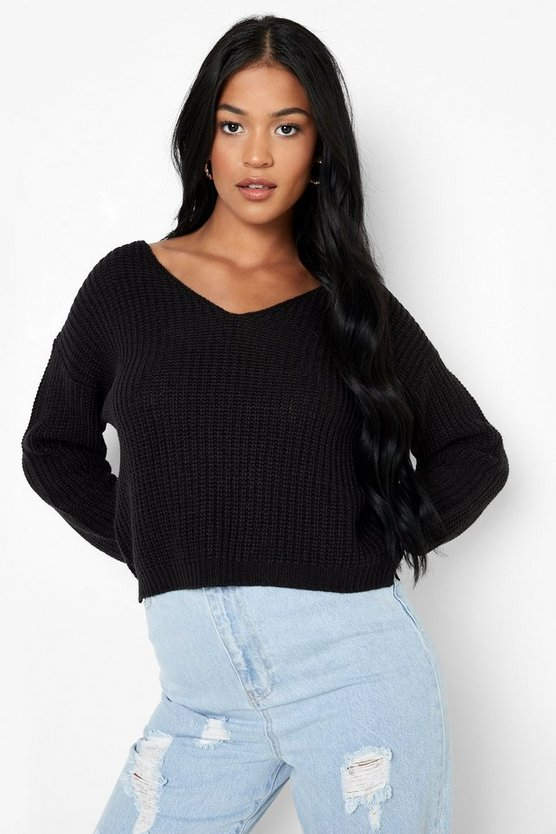 Womens Black Tall V Neck Jumper