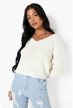 Womens Ecru Tall V Neck Sweater