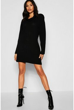 Womens Black Tall Roll Neck Jumper Dress