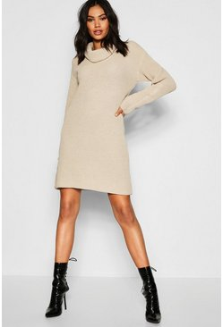 Stone Tall Roll Neck Jumper Dress