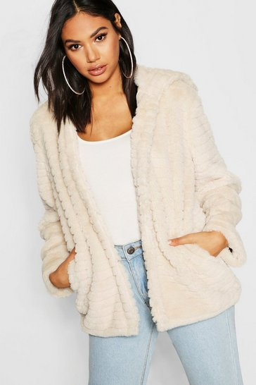 Womens Cream Tall Hooded Faux Fur Coat