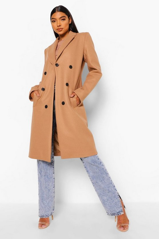 Womens Camel Tall Double Breasted Coat