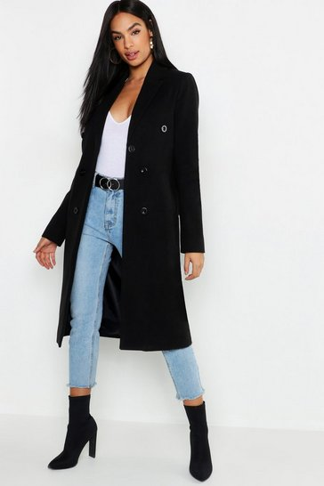 Womens Black Tall Double Breasted Coat