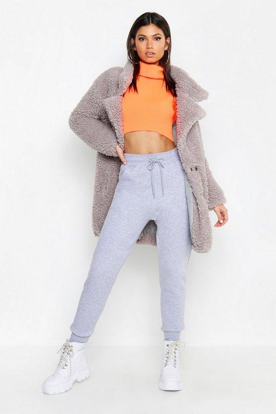 Womens Grey Tall Oversized Faux Fur Coat