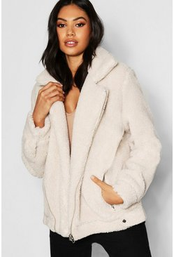 Womens Ecru Tall Teddy Faux Fur Aviator