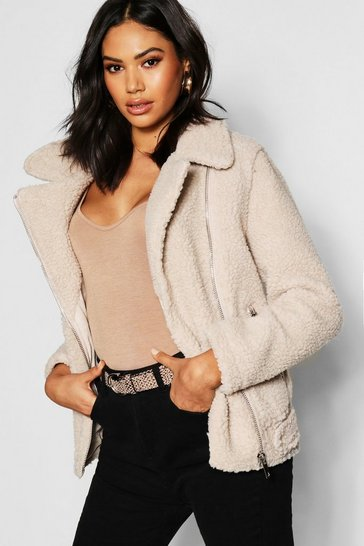 Womens Cream Tall Teddy Faux Fur Aviator