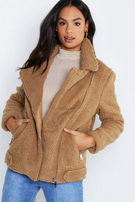 Camel Tall Teddy Fur Aviator