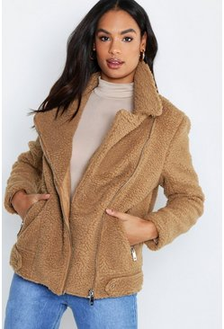 Womens Camel Tall Teddy Fur Aviator